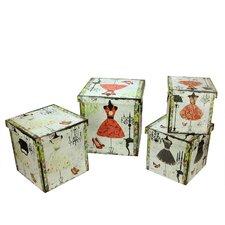 4 Piece Wooden Vintage Fashion Dresses Decorative Storage Box Set