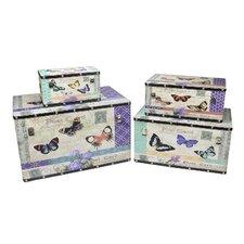 4 Piece Wooden Garden Butterfly Decorative Storage Box Set