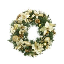 Pre-Decorated Gold Poinsettia, Pine Cone and Pear Artificial Christmas Wreath
