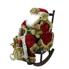 Santa Claus in Rocking Chair with Teddy Bear and Gifts Figure