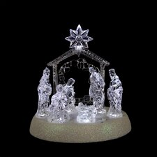 Icy Crystal Pre-Lit LED Lighted Holy Family in Stable Nativity Christmas Decoration