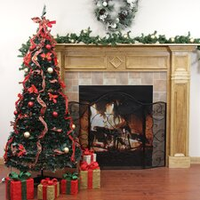9' Decorated Red Plaid Artificial Christmas Tree with Multi Light