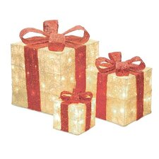 Sparkling Cream Sisal Gift Boxes Lighted Christmas Decoration (Set of 3)