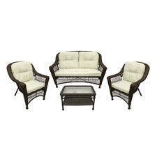 Somerset 4 Piece Resin Wicker Patio Loveseat Chairs and Table Furniture Set