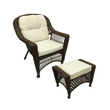 Somerset 2 Piece Resin Wicker Patio Chair and Ottoman Furniture Set