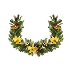 Pre Decorated Gold Poinsettia Ornament and Pine Cone Unlit Artificial Christmas Garland