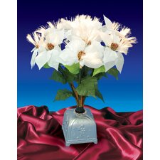 1.67' White Poinsettia Artificial Christmas Plant with Multi Light