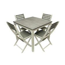 5 Piece Acacia Wood Outdoor Patio Dining Table and Chair Furniture Set
