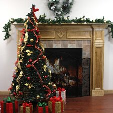 6' Decorated Red and Gold Artificial Christmas Tree with Clear Light