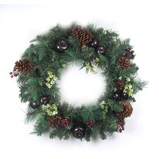 Pre Decorated Red Berry Pine Cone Apple Unlit Artificial Christmas Wreath