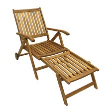 Acacia Wood Outdoor Patio Furniture Sun Lounger Chair