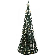 9' Decorated Silver and Gold Artificial Christmas Tree with Clear Light