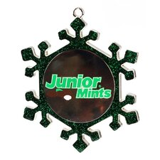 Snowflake Junior Mints Candy Logo Christmas Ornament with European Crystal