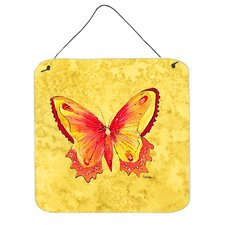 Butterfly on Yellow Aluminum Hanging Painting Print Plaque