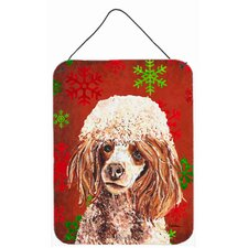 Red Miniature Poodle Red Snowflakes Holiday Hanging Painting Print Plaque