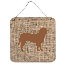 Curly Coated Retriever Burlap and Brown Hanging Painting Print Plaque