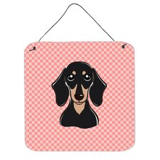 Checkerboard Pink Smooth Black and Tan Dachshund Hanging Graphic Art Plaque