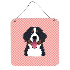 Checkerboard Pink Bernese Mountain Dog Hanging Graphic Art Plaque