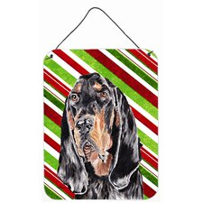 Coonhound Candy Cane Christmas Aluminum Hanging Painting Print Plaque