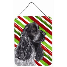Cocker Spaniel Candy Cane Christmas Aluminum Hanging Painting Print Plaque