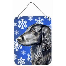 Flat Coated Retriever Winter Snowflakes Holiday Hanging Painting Print Plaque