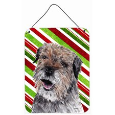 Border Terrier Candy Cane Christmas Aluminum Hanging Painting Print Plaque