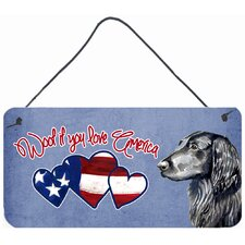 Woof If You Love America Flat Coated Retriever Hanging Painting Print Plaque