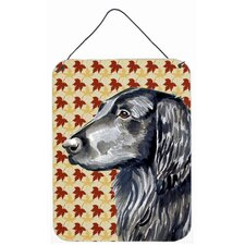 Flat Coated Retriever Fall Leaves Portrait Hanging Painting Print Plaque
