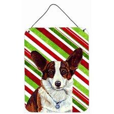 Corgi Candy Cane Holiday Christmas Aluminum Hanging Painting Print Plaque