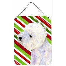 Westie Candy Cane Holiday Christmas Aluminum Hanging Painting Print Plaque