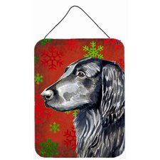 Flat Coated Retriever Red Snowflakes Christmas Hanging Painting Print Plaque