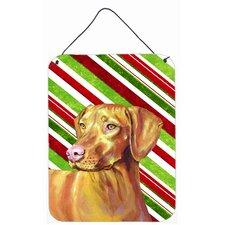 Vizsla Candy Cane Holiday Christmas Aluminum Hanging Painting Print Plaque