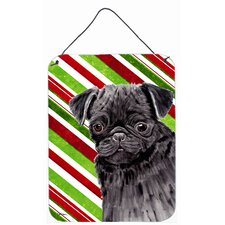 Pug Candy Cane Holiday Christmas Aluminum Hanging Painting Print Plaque