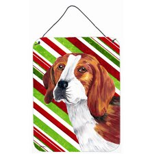 Beagle Candy Cane Holiday Christmas Aluminum Hanging Painting Print Plaque