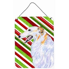 Borzoi Candy Cane Holiday Christmas Aluminum Hanging Painting Print Plaque