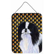 Japanese Chin Candy Corn Halloween Portrait Hanging Painting Print Plaque