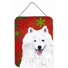 American Eskimo Red Snowflakes Holiday Christmas Metal Wall Door Hanging Painting Print Plaque
