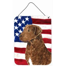USA American Flag with Curly Coated Retriever Hanging Painting Print Plaque