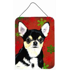 Chihuahua Red Snowflakes Holiday Christmas Metal Hanging Painting Print Plaque