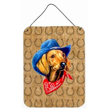 Dachshund Red Dog Country Lucky Horseshoe Hanging Painting Print Plaque
