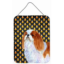 English Toy Spaniel Candy Corn Halloween Portrait Hanging Painting Print Plaque