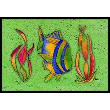 Tropical Fish on Green Doormat