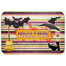 Witch Costume and Broom on Stripes Halloween Kitchen/Bath Mat