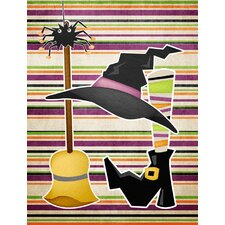Witch Costume and Broom on Stripes Halloween 2-Sided Garden Flag