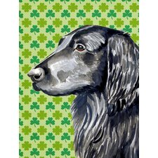 Flat Coated Retriever St. Patrick's Day Shamrock House Vertical Flag
