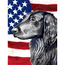 USA American Flag with Flat Coated Retriever House Vertical Flag