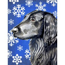 Flat Coated Retriever Winter Snowflakes Holiday House Vertical Flag