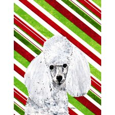 White Toy Poodle Candy Cane Christmas House Vertical Flag