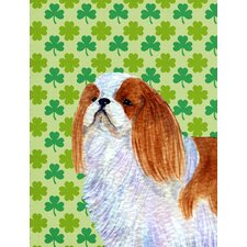 English Toy Spaniel St. Patrick's Day Shamrock House Vertical Flag