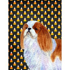 English Toy Spaniel Candy Corn Halloween House Vertical Flag